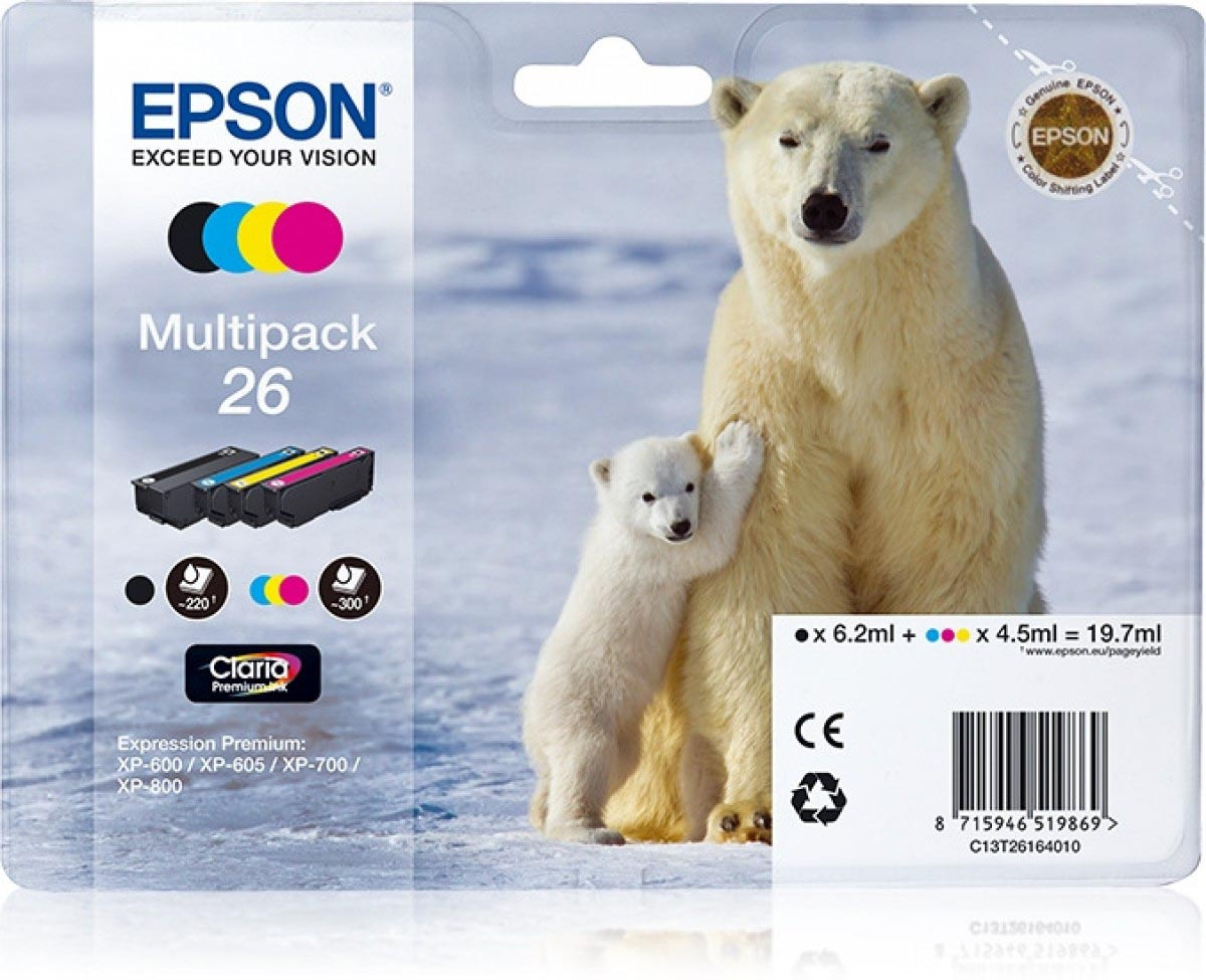 Multipack de tinta original Epson 26 Oso Polar 4 colores