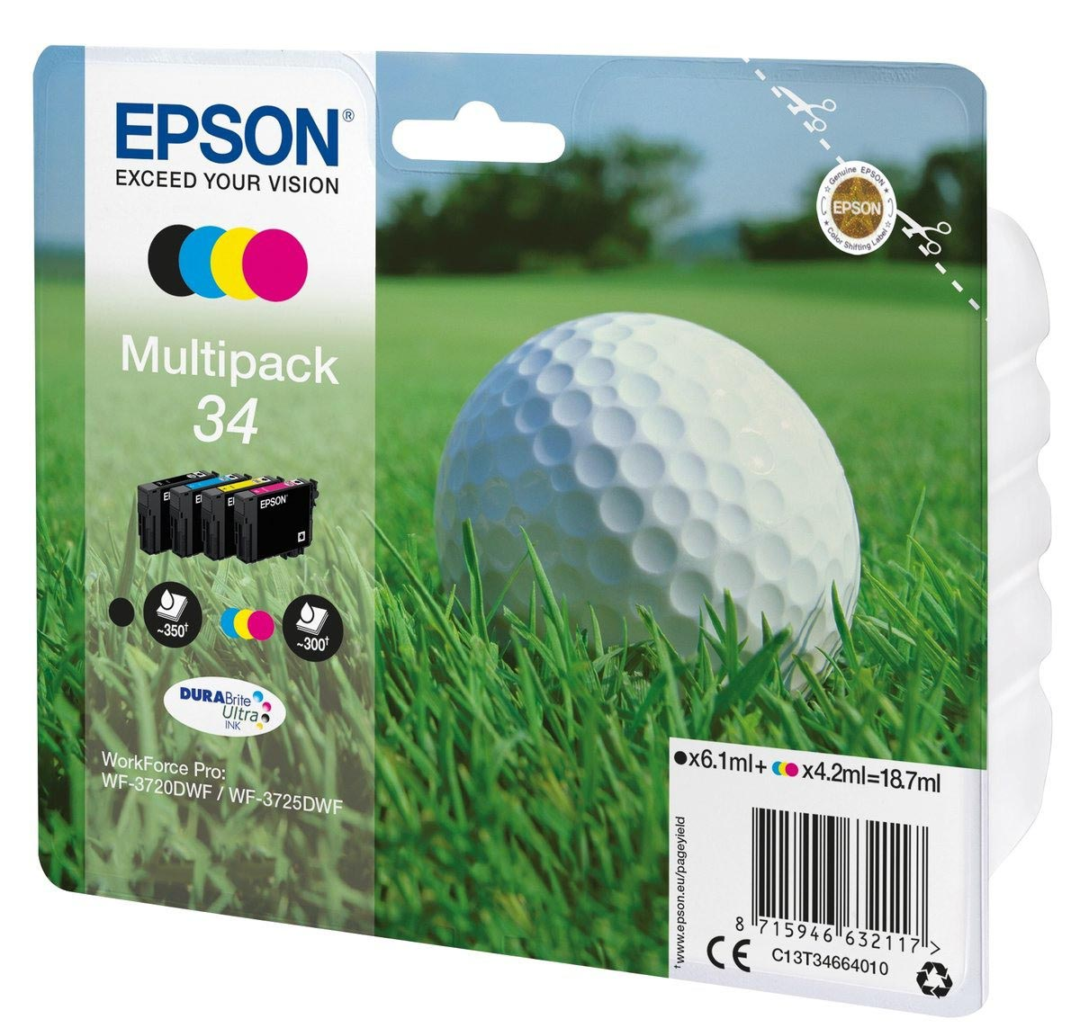 Multipack de tinta original Epson 34 Bola de Golf 4 colores