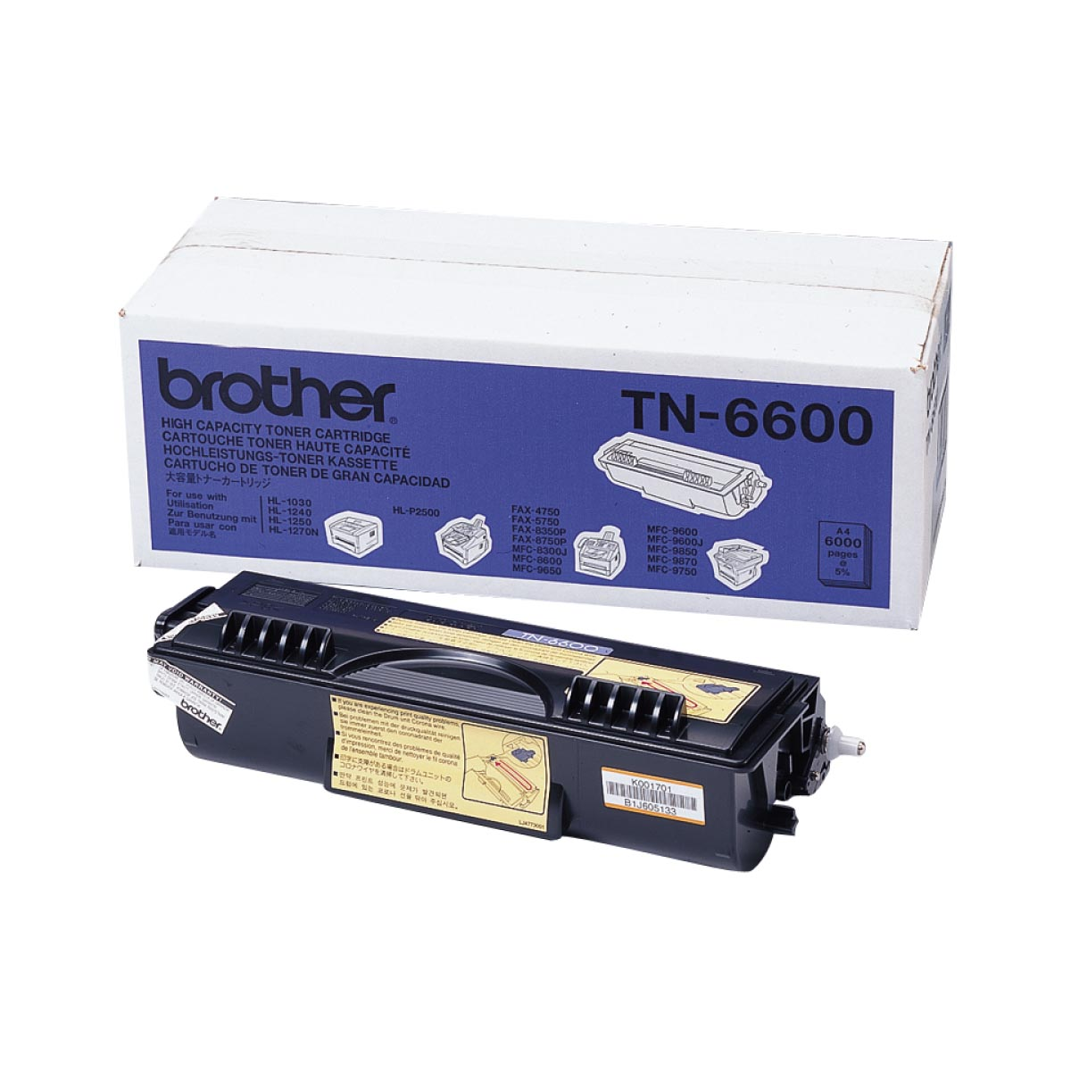 Cartucho de tóner original Brother TN6600 negro