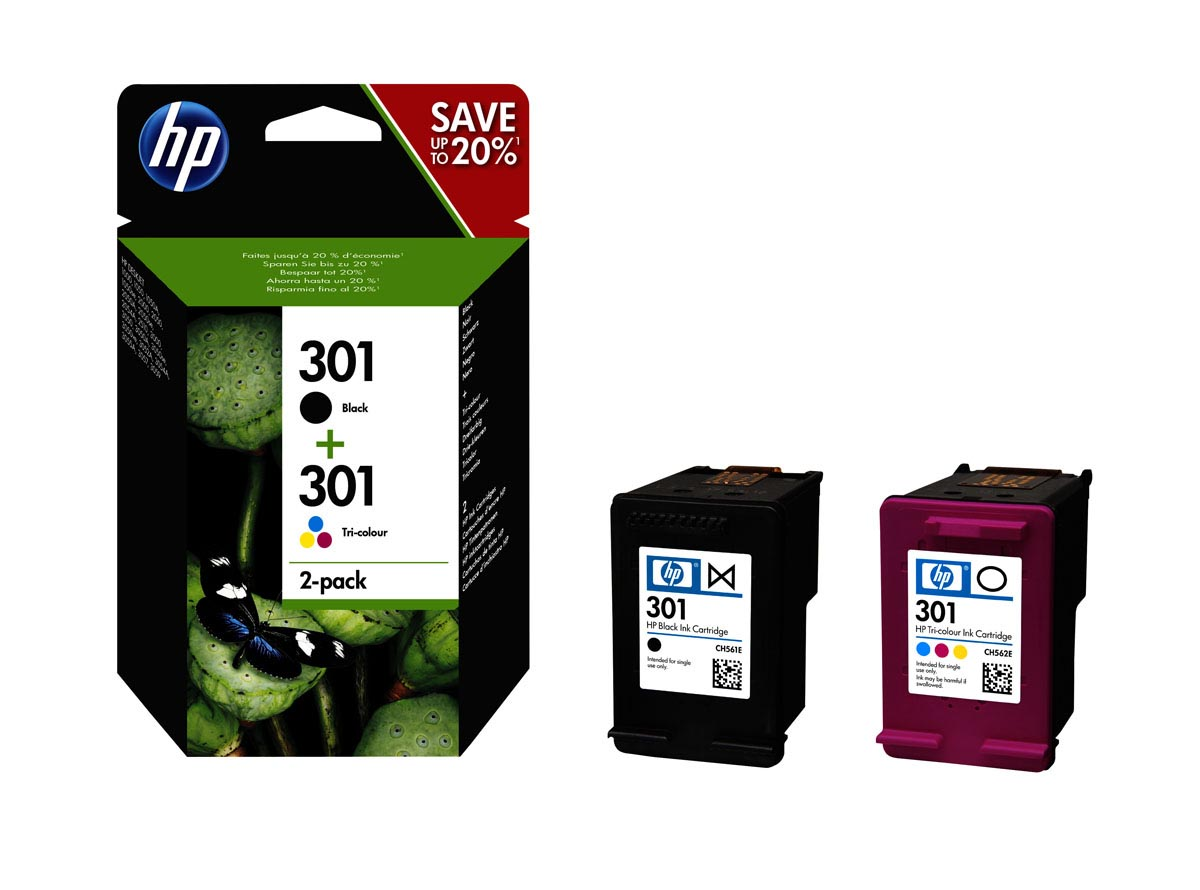 PACK AHORRO 2 CARTUCHOS TINTA HP 301: NEGRO + TRI-COLOR | N9J72AE