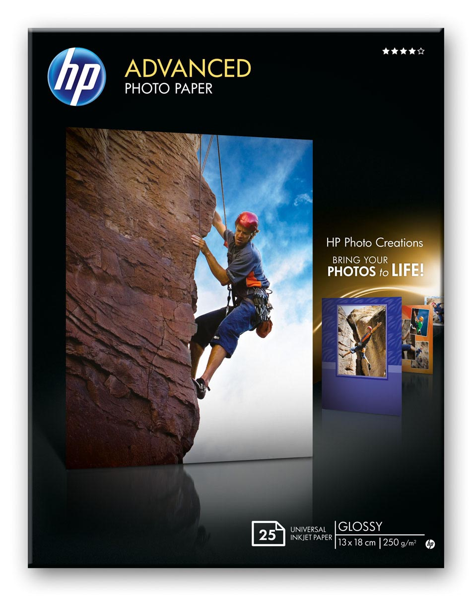 Papel fotográfico satinado con brillo HP Advanced - 25 hojas/13 x 18 cm sin bordes