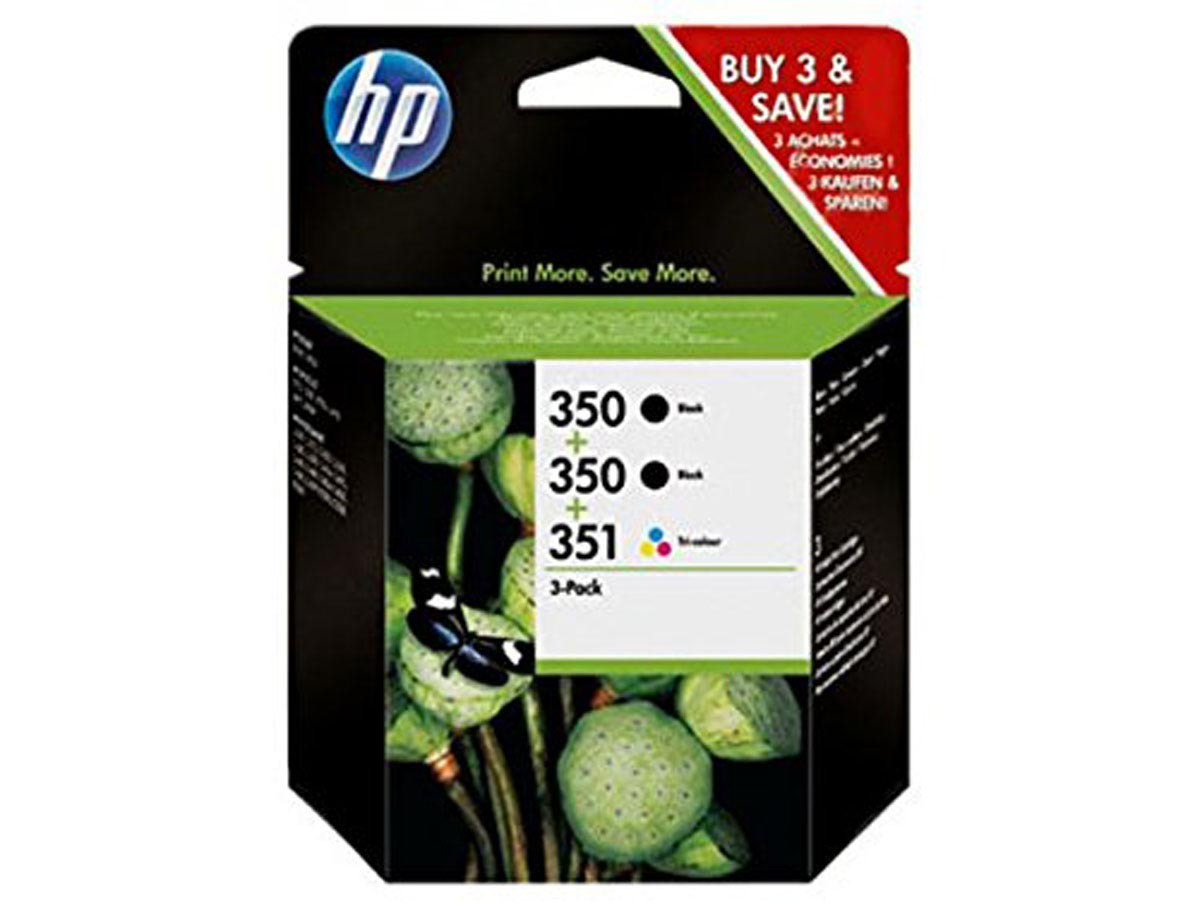 Pack de 3 cartuchos originales de tinta negra (2) HP 350 y tri-color 351 (1)