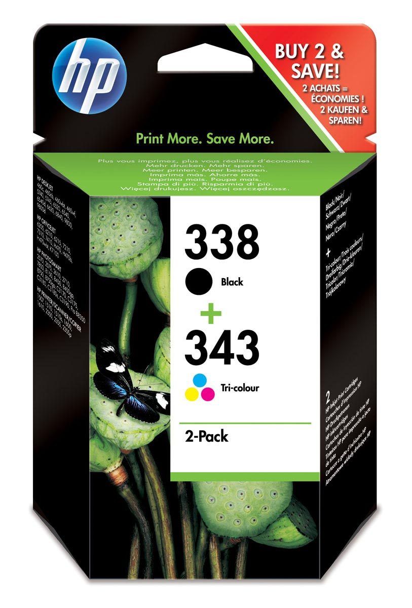Pack de ahorro de 2 cartuchos de tinta original HP 338 negro/343 tri-color