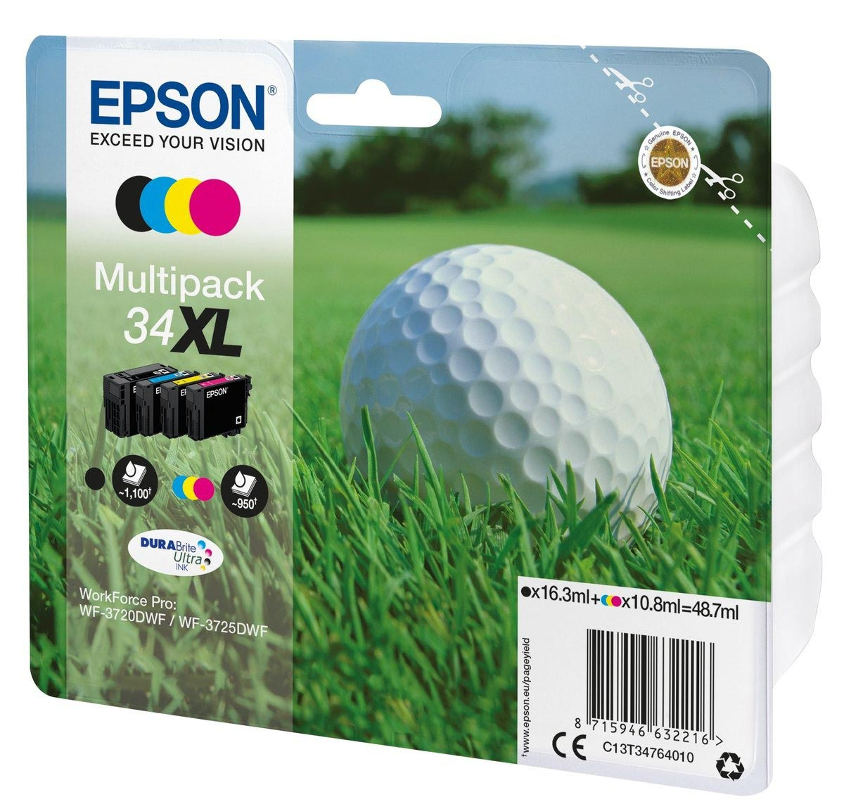 Multipack de tinta original Epson 34XL Bola de Golf 4 colores Alta Capacidad
