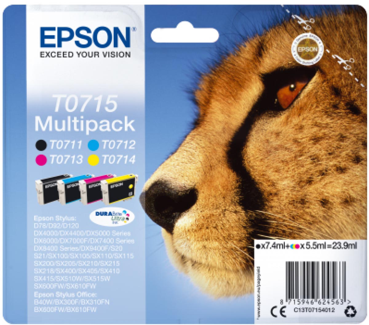 Multipack de tinta original Epson T0715 Guepardo 4 colores
